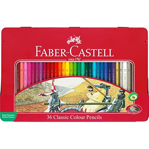 Faber-Castell Classic Colour Pencils Available In 12 to 48 Colors (Tin Box 36 Colour) by KSUPPLY-FABER-CASTELL