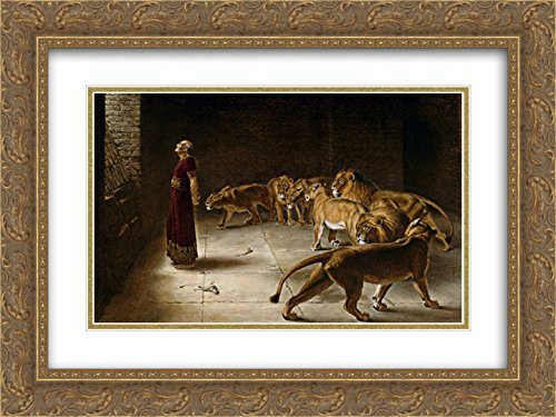 Briton Riviere 2X Matted 24x20 Gold Ornate Framed Art Print 'Daniel's Answer to The King'