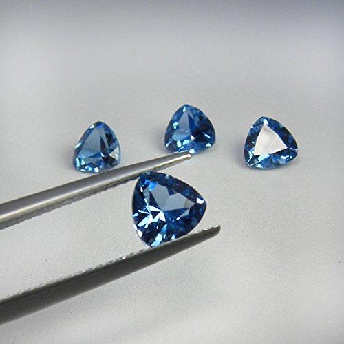 6x6 mm. Set 5 pcs. Fine Trillion Cut Paraiba Blue Tourmaline loose gem ()