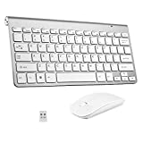 2.4G Mini USB Keyboard with Silent Mouse Combo for Laptop/Desktop/Table and PC, Ultra Slim Portable Mute Wireless Keyboard and Mouse Combo (USB Receiver in Keyboard) Silver