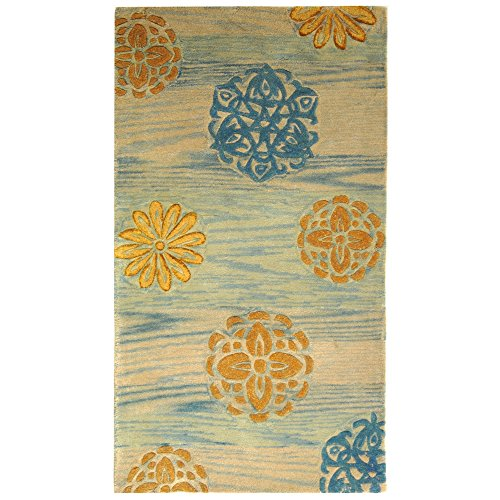 Safavieh Rodeo Drive Collection RD882A Handmade Floral Abstract Blue and Multi Wool Area Rug (3'6