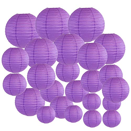 Just Artifacts Decorative Round Chinese Paper Lanterns 24pcs Assorted Sizes (Color: Royal Purple)
