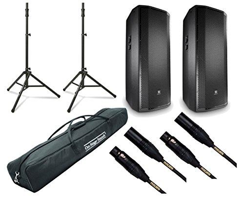 """2x JBL PRX835W 1500W Powered 15"""" Active Speaker + Tripod + XLR Cables + Bag"""