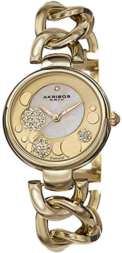 Akribos XXIV Women's AK678YG Lady Diamond Crystal Mother-Of-Pearl Dial Gold-Tone Twist Chain Link Bracelet Watch