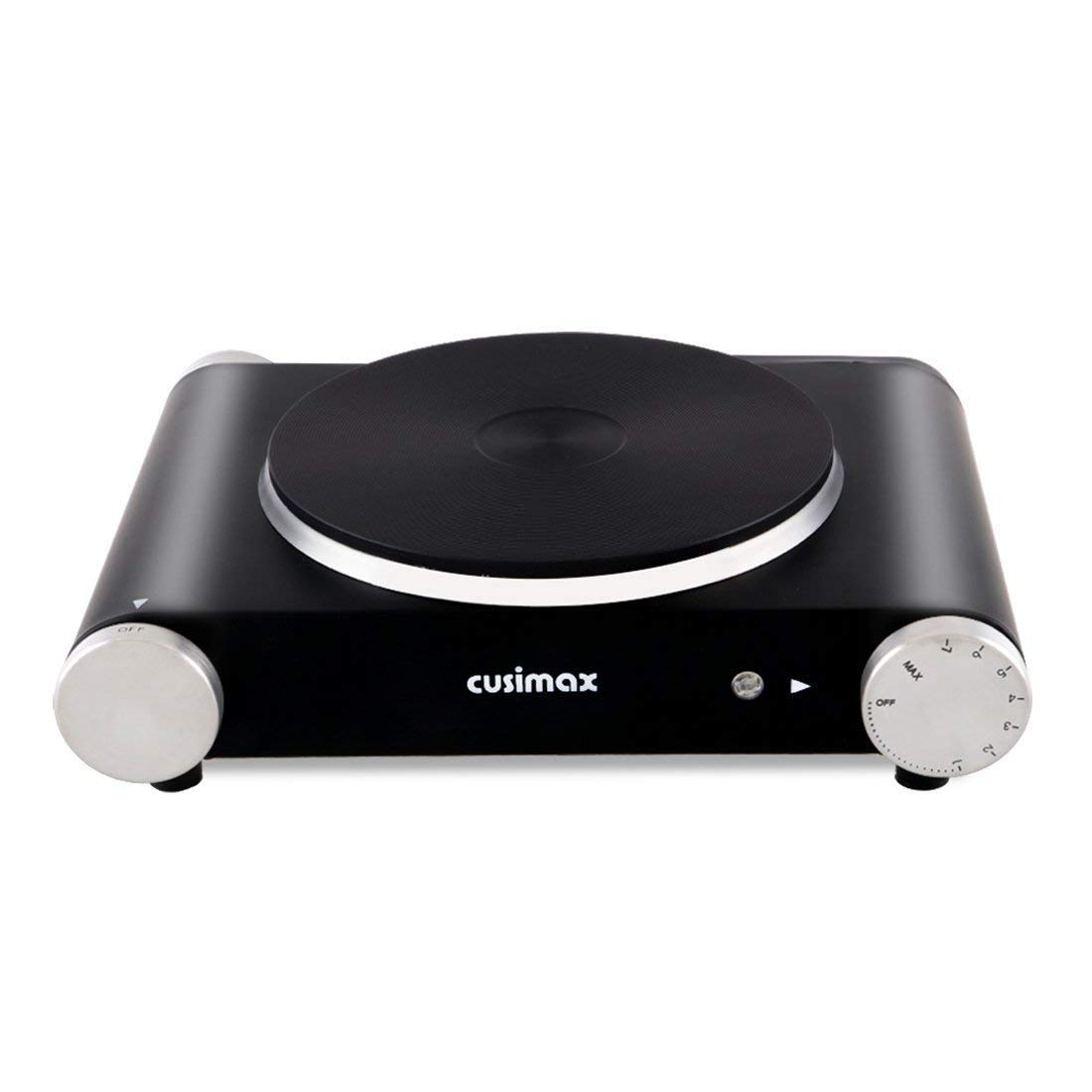 Cusimax Electric Hot Plate - 1500W Portable Single Countertop Burner - CMHP-B101 - Stainless Steel - Black - Upgrated
