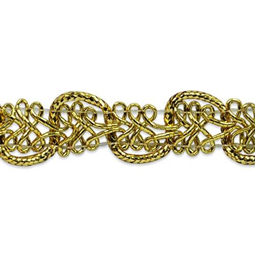 Expo International Gwen Lacey Metallic Braid Trim Embellishment, 20-Yard, Gold