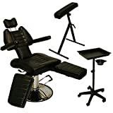 Brand New InkBed Tattoo Package - Sturdy Reclining Hydraulic Ink Chair, Armrest Bar, Tray Stand with Utility Cup Studio Salon Equipment