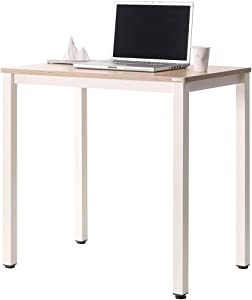 """SOFSYS 31"""" Multi-Functional Computer Desk Workstation Table, Industrial Home Office Design for Writers, Video Gaming, Designers and Entrepreneurs, Large Desktop with Metal Frame, Oak/White"""