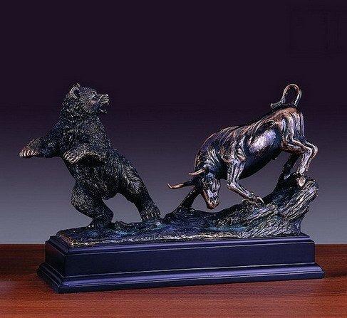Classic Fighting Stock Market Bull & Bear Statue