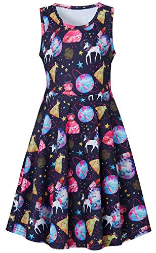 Planets Frock for Little Girls Age 5Y 6Y 7Y 3D Floral Printed Gold Star White Horse Space Rocket Patterns Ruffles Sleeveless Fairy Dressy Cami Dresses for Small Kids on Hawaiian Luau Party Clothes