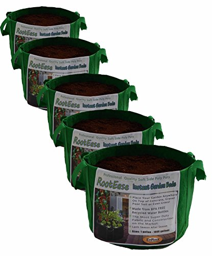 RootEase 5-Pack Garden Planting Aeration Fabric Pot, Heavy Duty Durable Grow Bags / Planter, Raised Bed Gardening, Best Air-Pruning Root Treatment Eco-Friendly Grow Bags with Handles (3 Gallon, Green) by EnRoot Products LLC