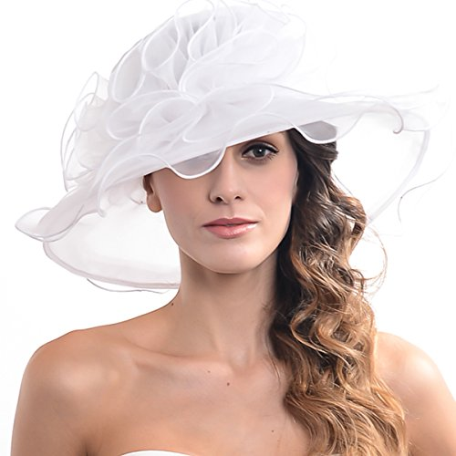 Womens Kentucky Derby Church Dress Fascinator Bridal Organza Tea Party Wedding Hat White -