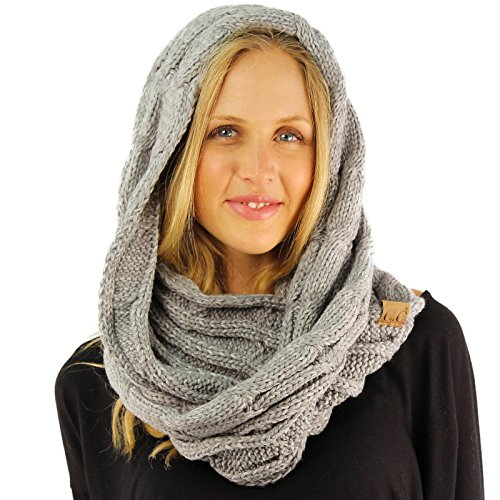 CC 2Tone Soft Chunky Warm Pullover Knit Long Loop Infinity Hood Cowl Scarf (Knit Men Scarf)