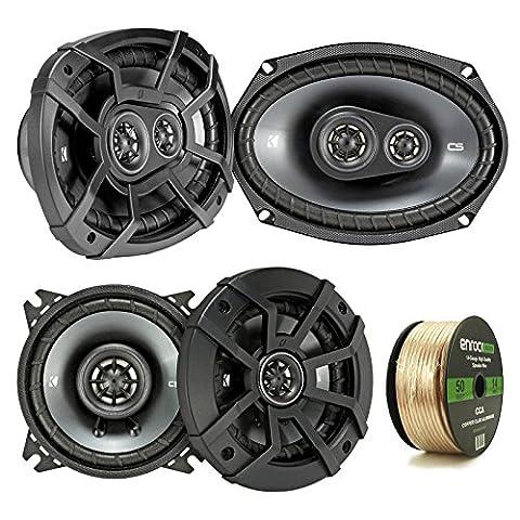 2 Pair Car Speaker Package Of 2x Kicker 43CSC44 300-Watt 4