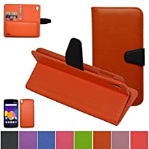 Alcatel One Touch Idol 3 (5.5 inch) Case,Mama Mouth [DETACHABLE Feature] Folio Flip Hard Case [Stand View] Premium PU Leather [Wallet Case] With Built-in Media Stand ID Credit Card / Cash Slots and Inner Pocket Cover For Alcatel One Touch Idol 3 (5.5 inch), Orange