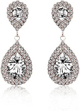 Miraculous Garden Womens Silver Gold Rose Gold Plated Crystal Rhinestone Wedding Hypoallergenic Drop Earrings for Mother's Day
