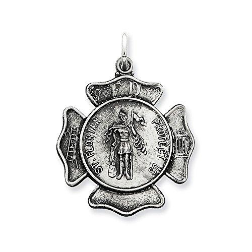 - .925 Sterling Silver St. Florian Fireman's Badge Medal Charm Pendant