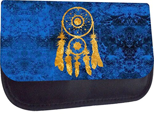 Gold Foil Print Dreamcatcher on Blue Grunge- Rosie Parker Inc. TM Pencil Case Made in the U.S.A.