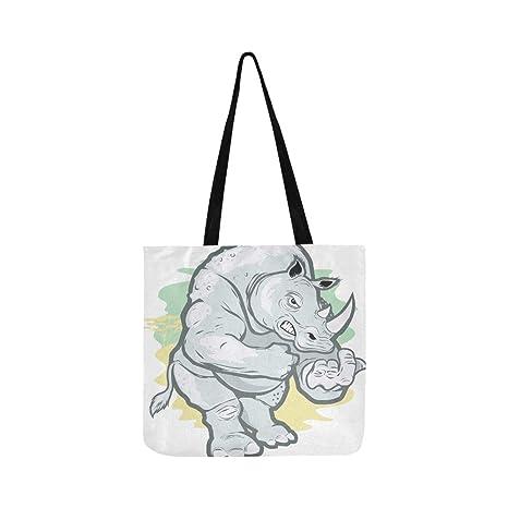 Big Tough Rhino Cartoon Canvas Tote bolso bandolera ...