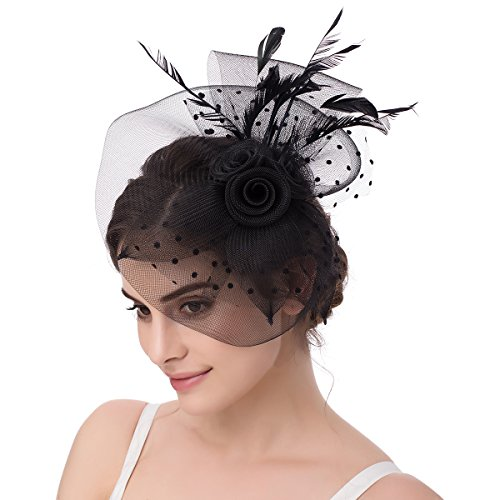 Abaowedding Feather Fascinator Cocktail Party Hair Clip Pillbox Hat B Black TS004 ()