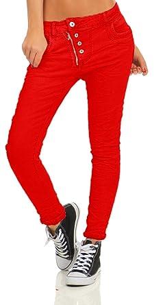 85dbebb0a384fe 4000 LEXXURY Damen Jeans Röhrenjeans Hose Boyfriend Haremscut Knopfleiste  Zipper Jeans