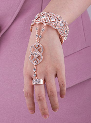 Vijiv Gold 1920s Flapper accessories Bracelet Ring Set Great Gatsby Style 20s Jewelry For Party by Vijiv (Image #4)'