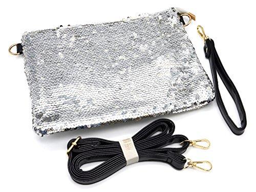 Oh My Shop - Cartera de mano de Material Sintético para mujer plateado plata Taille Unique