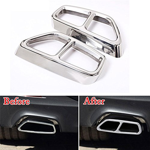 UltaPlay 2pcs Stainless Steel Car Rear Exhaust Muffler Tail Tip Pipe Cover Trim for BMW 5 Series 2018 Car Interior Accessories Styling