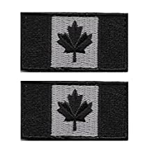 Small Tactical Canadian Flag (4cm x 2cm) Patch with Hook/Loop Backing (Set of 2)