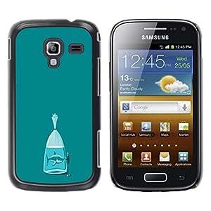 FECELL CITY // Duro Aluminio Pegatina PC Caso decorativo Funda Carcasa de Protección para Samsung Galaxy Ace 2 I8160 Ace II X S7560M // Shark Teal Fish Meaning Metaphor