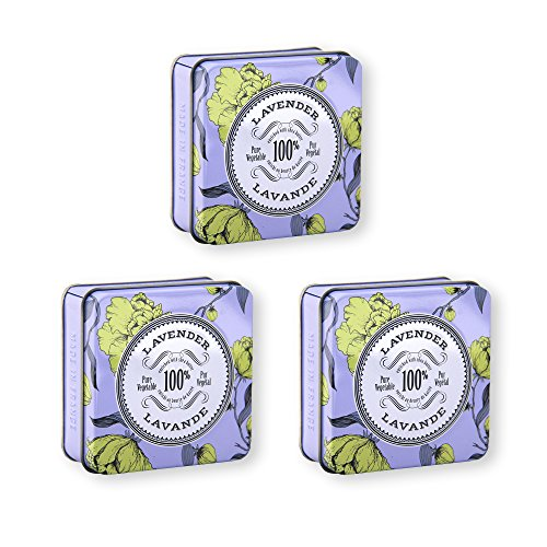 La Chatelaine French Lavender Soap in A Tin, Value Pack by 3, Organic Shea Butter, 100% Vegetable Based Triple Milled Bar, Extra-Gentle Moisturizing Soap, Paraben Free, 3 x 3.5 oz (100g)