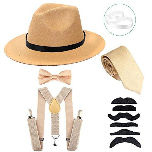 Men's Roaring 1920s Set Manhattan Fedora Hat,Y-Back Suspenders