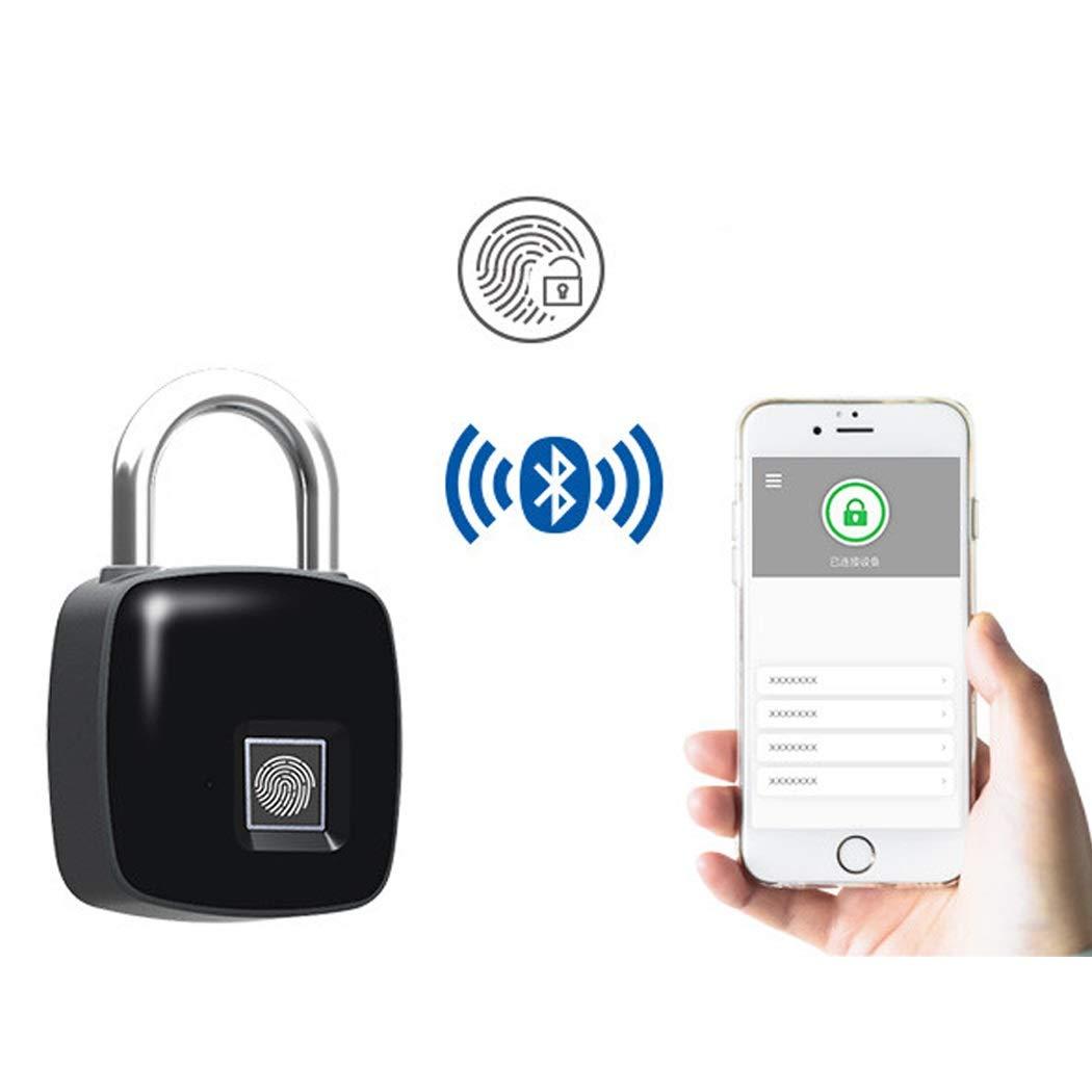 APP Fingerprint Lock Bluetooth Luggage Lock Smart Lock Anti-Theft Door Lock Outdoor Door Padlock Luggage Luggage Fingerprint Padlock (Color : Black)