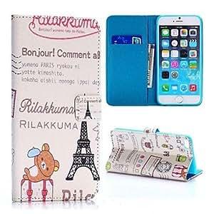 oso lindo y torre Eiffel cruz textura soporte de la carpeta del estilo tpu + caja de cuero de la PU para el iPhone 6 Plus