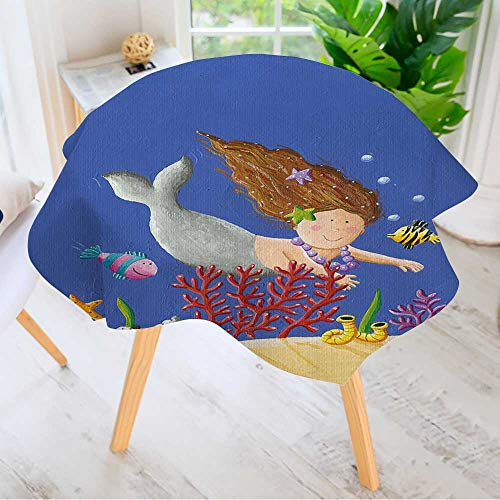 Leighhome Indoor/Outdoor Tablecloth- Acrylic of Cute Mermaid Available in Many Different Sizes and Colorways 40