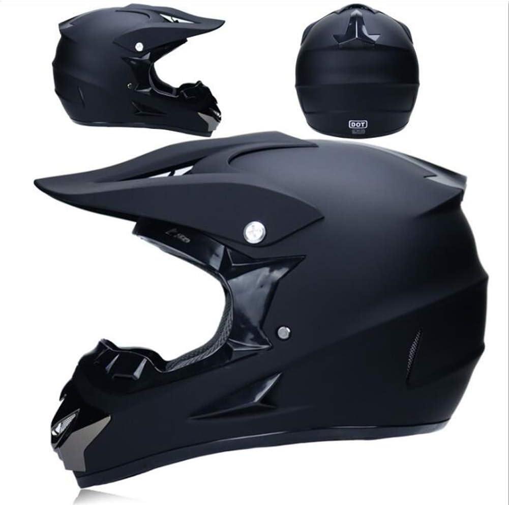 T Certificazione Endurance Race ATV ATV Casco Casco di Sicurezza Stereo Traspirante Include Occhiali//Guanti//Maschera O TKUI Nero Opaco Moto Casco Cross Country D