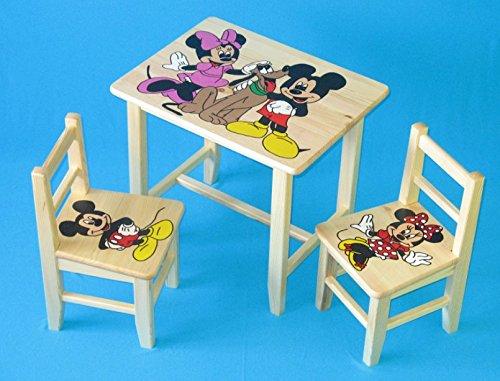 Set in legno tavolino con 2 sedie per cameretta bambini. M10. Ottima idea regalo.Completo in pino con disegno a mano. ipp