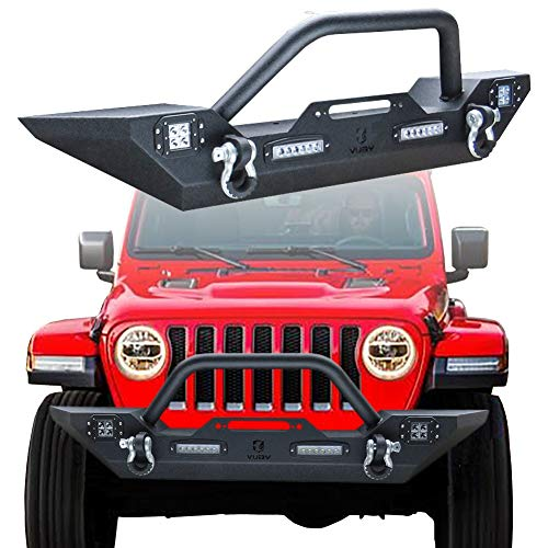 Vijay Jeep Wrangler Front Bumper With 4 LED Lights For 2018-2019 Jeep Wrangler JL & Unlimited