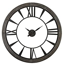 Rustic Round Iron Bronze Wood Wall Clock | Oversized Open Design Distressed