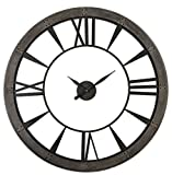 Cheap Rustic Round Iron Bronze Wood Wall Clock | Oversized Open Design Distressed