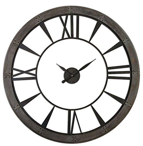 Rustic Round Iron Bronze Wood Wall Clock | Oversized Open Design Distressed