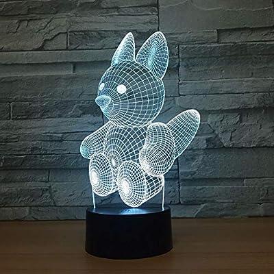 BFMBCHDJ Lovely Squirrel`LED 3D Night light USB Colorful Mood Mesa ...