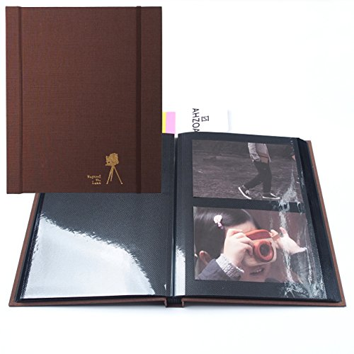 Film Flags - Self-Adhesive Photo Album with 5 Colors Sticky Flag, 40 Black Inner Pages Supporting PVC Films (Chocolate)