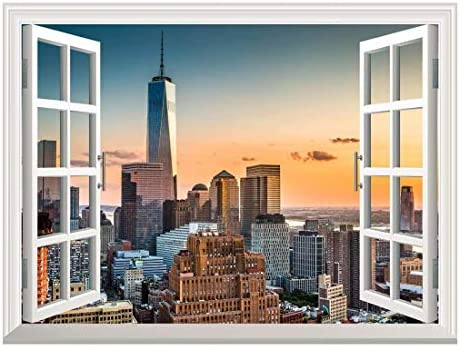 Removable Wall Sticker/Wall Mural - Lower Manhattan Skyline at Sunset | Creative Window View Home Decor/Wall Decor - 24