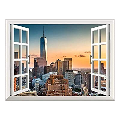 Removable Wall Sticker Wall Mural Lower Manhattan Skyline at Sunset Creative Window View Wall Decor, Made to Last, Incredible Artistry