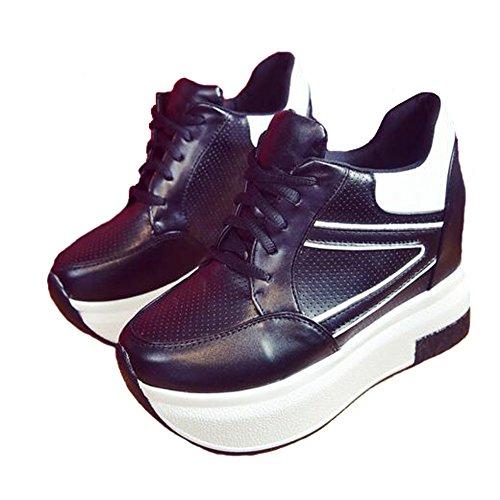 Angelliu Damesmode Coole Platform Bootschoenen Verhoogde Sportschoenen Zwart