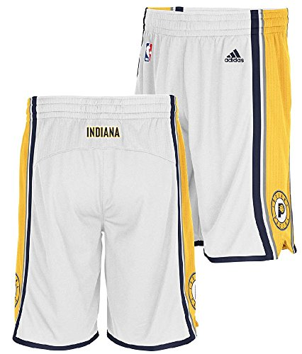 adidas Indiana Pacers White Embroidered Swingman Shorts (S=32-33)
