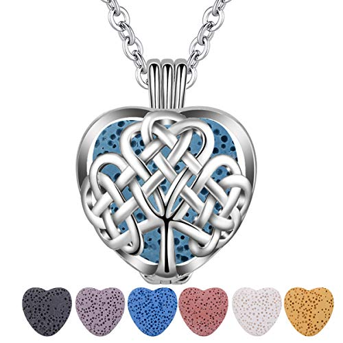 Essential Oil Lava Stone Diffuser Necklace, CELESTIATree of Life Heart Aromatherapy Locket Pendant with 7 Reusable Coloured Lava Stones - 24