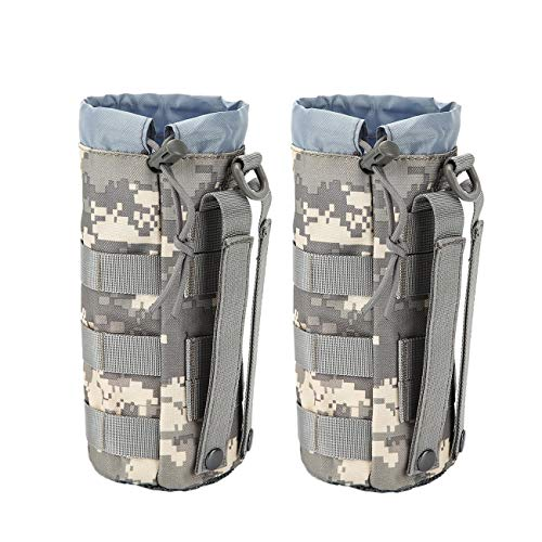 WICHEMI Sports Water Bottles Pouch Bag, Tactical Drawstring Molle Water Bottle Holder Pouches Portable Travel Tactical Hydration Carrier Bags