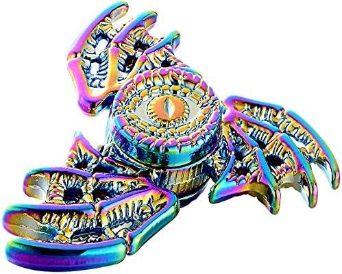 Phoenix jouet de mise au point haute vitesse /à faible bruit /à trois mains avec roulement auto-lubrifiant en acier Dragon Wings Eyes Fidget Spinner Toy fabriqu/é en m/étal couleur arc-en-ciel